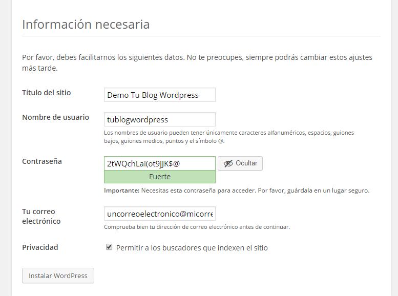 Configuración de WordPress