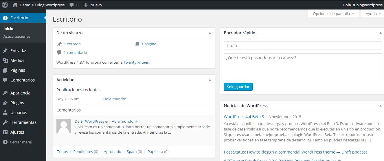 Instalación de WordPress correctamente instalada